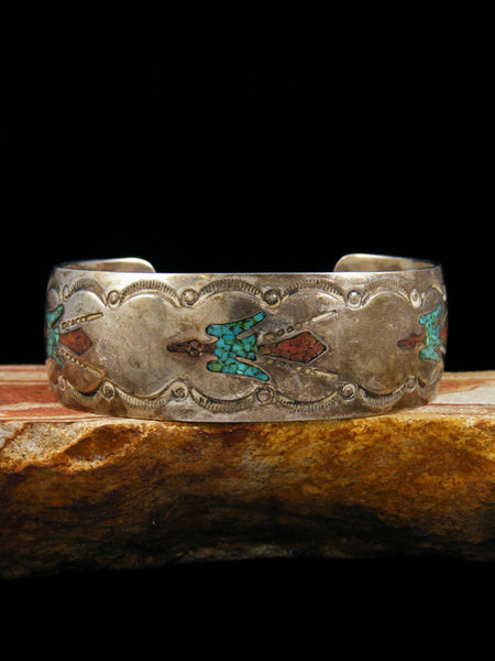 Old Indian Sterling Silver Chip Inlay Bracelet
