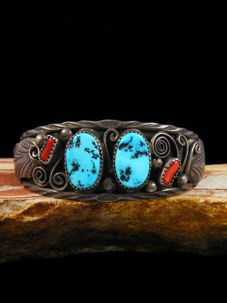 Vintage Indian Sterling Silver Turquoise and Coral Bracelet