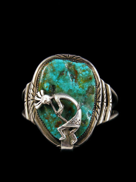 Old Pawn Indian Sterling Silver Turquoise Kokopelli Bracelet
