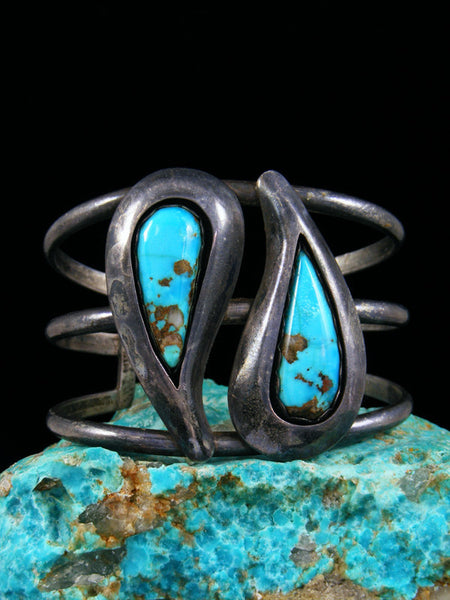 Old Indian Sterling Silver Turquoise Shadowbox Bracelet and Ring Set