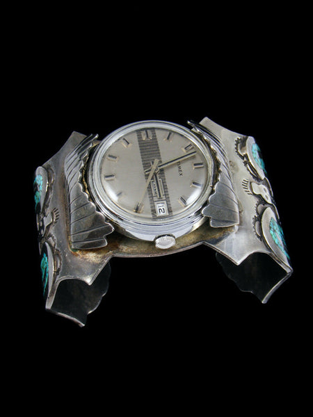 Old Indian Turquoise and Coral Chip Inlay Cuff Watch