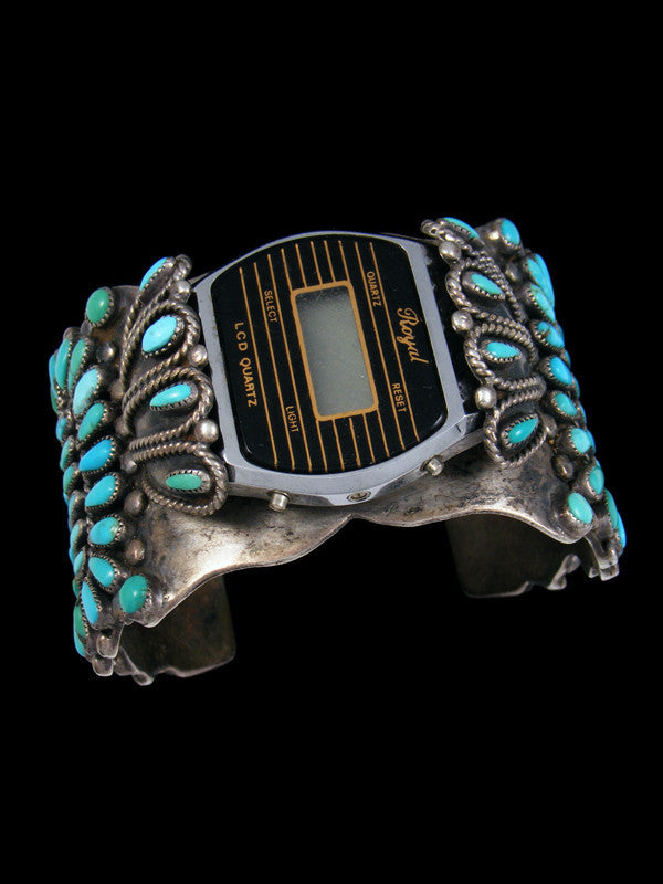 Old Pawn Indian Jewelry Sterling Silver Turquoise Watch