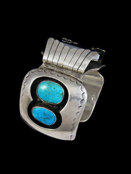 Old Pawn Indian Jewelry Sterling Silver Turquoise Watch Cuff