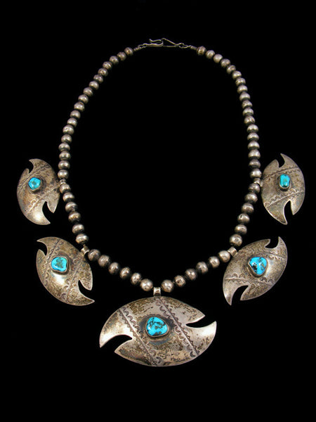 Old Pawn Sterling Silver Turquoise Necklace
