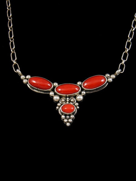Estate Native American Sterling Silver Coral Necklace