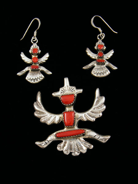 Estate Zuni Jewelry Sterling Silver Coral Pendant and Earrings Set