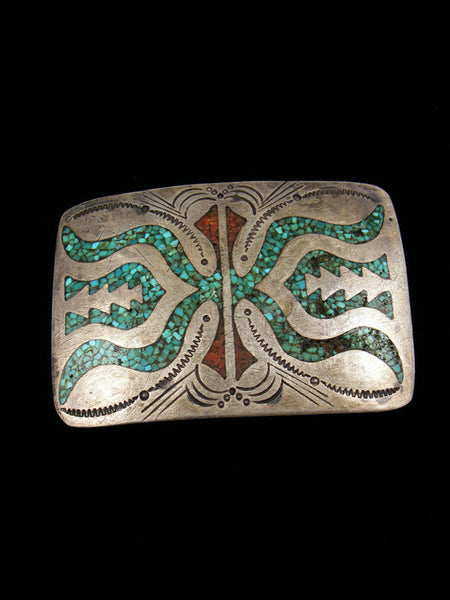 Old Pawn Indian Jewelry Chip Inlay Sterling Silver Buckle