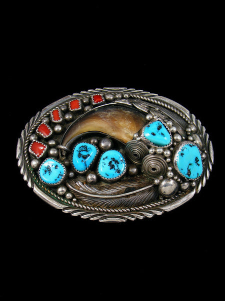 Native American Sterling Silver Turquoise and Coral Bear Claw Belt Buckle