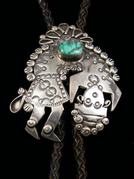 Old Pawn Native Jewelry Sterling Silver Turquoise Bolo