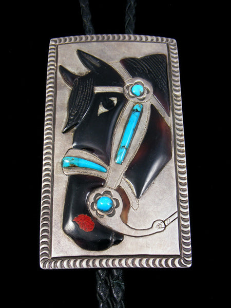 Old Pawn Native American Jewelry Inlay Bolo Tie