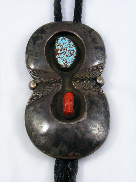 Old Pawn Jewelry Turquoise and Coral Bolo Tie