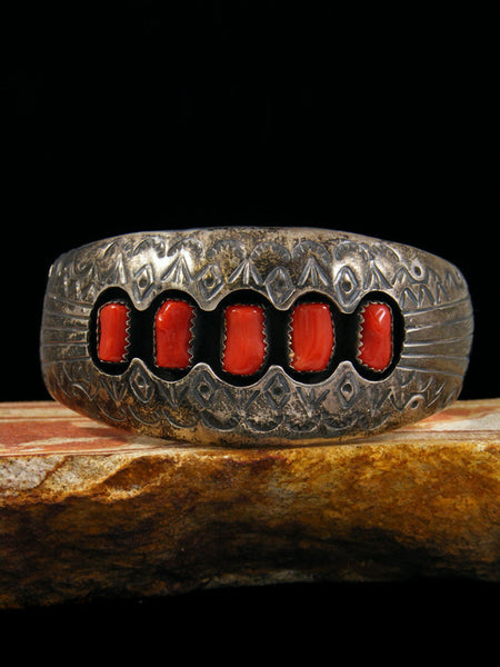 Old Pawn Indian Jewelry Coral Shadowbox Bracelet