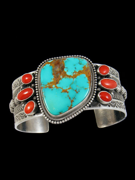 Native American Sterling Silver Turquoise and Coral Bracelet