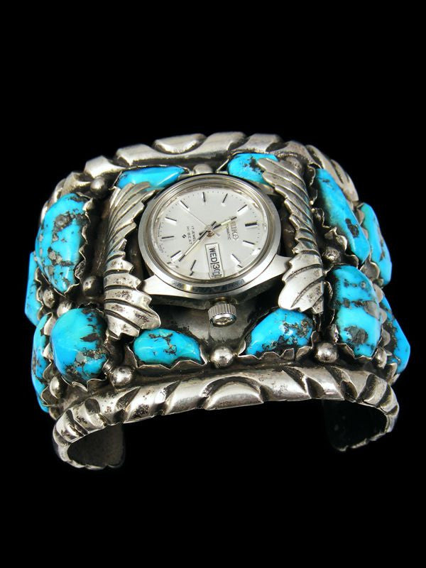 Old Pawn Indian Jewelry Sterling Silver Turquoise Watch by Angie Cheama - PuebloDirect.com - 1