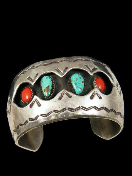 Old Pawn Indian Turquoise and Coral Shadowbox Bracelet by Vintage Jewelry - PuebloDirect.com - 1