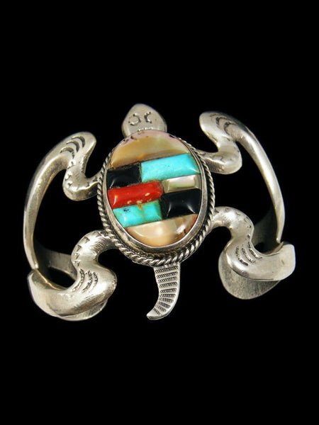 Native American Old Pawn Sandcast Inlay Bracelet by Vintage Jewelry - PuebloDirect.com - 1