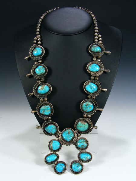Old Pawn Turquoise Squash Blossom Necklace by Vintage Jewelry - PuebloDirect.com - 1