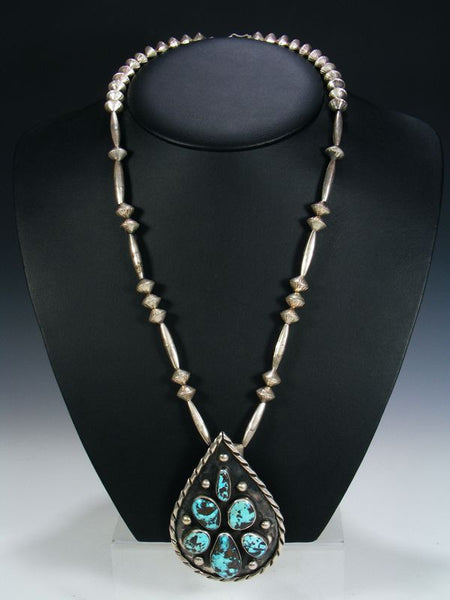 Old Pawn Turquoise Necklace by Vintage Jewelry - PuebloDirect.com - 1