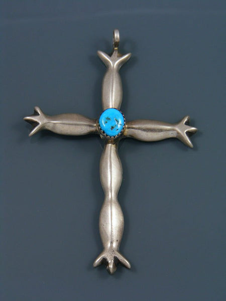 Vintage Sterling Silver Turquoise Cross Pendant
