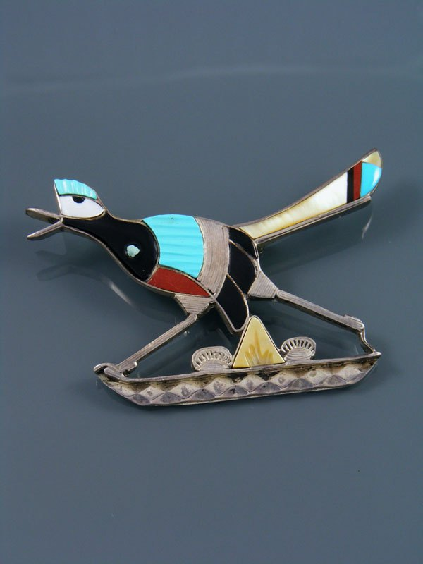 Old Pawn Indian Jewelry Sterling Silver Zuni Inlay Roadrunner Pin/Pendant