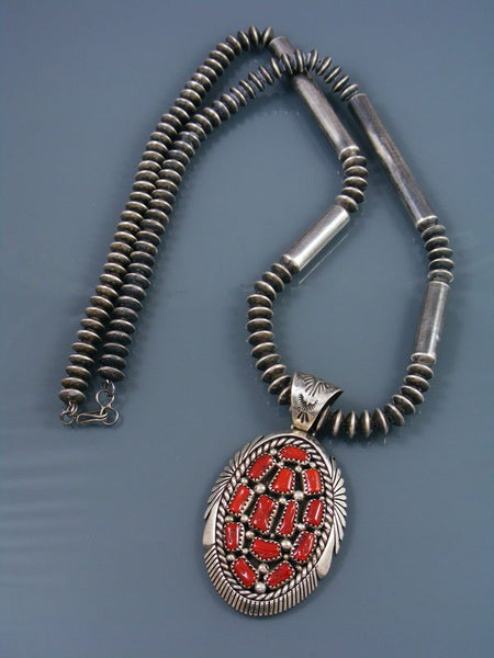 Estate Sterling Silver Coral Cluster Native American Necklace