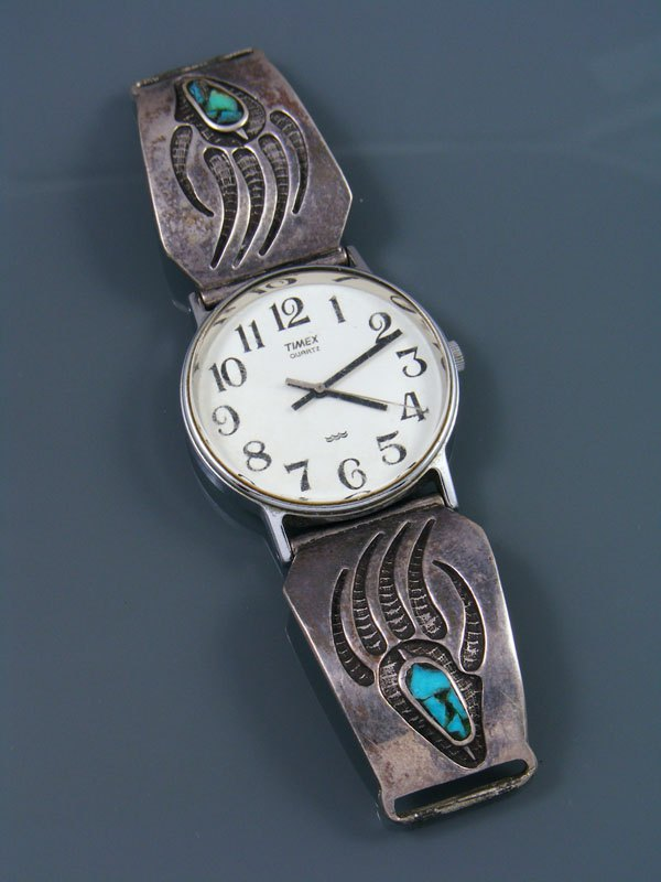 Estate Native American Jewelry Sterling Silver Turquoise Men's Watch