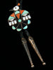 Old Pawn Indian Jewelry Sterling Silver Zuni Inlay Bolo by Vintage Jewelry - PuebloDirect.com - 2