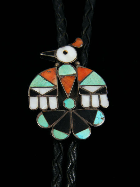 Old Pawn Indian Jewelry Sterling Silver Zuni Inlay Bolo by Vintage Jewelry - PuebloDirect.com - 1