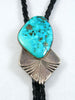 Old Pawn Indian Jewelry Morenci Turquoise Bolo by L N - PuebloDirect.com - 1