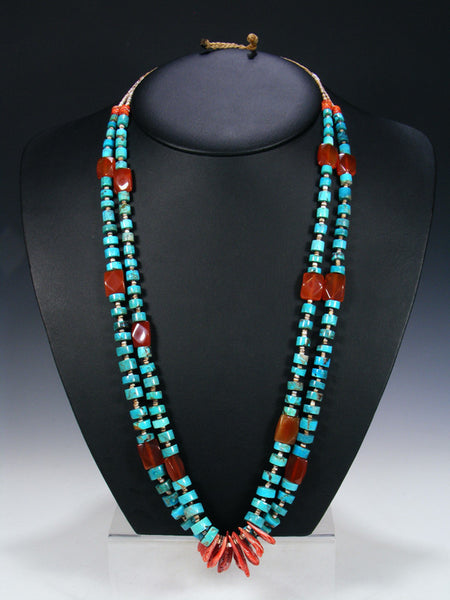 Estate Santo Domingo Turquoise, Shell and Carnelian Necklace