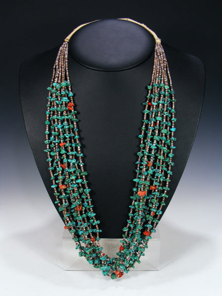 Estate Santo Domingo Turquoise and Coral Necklace