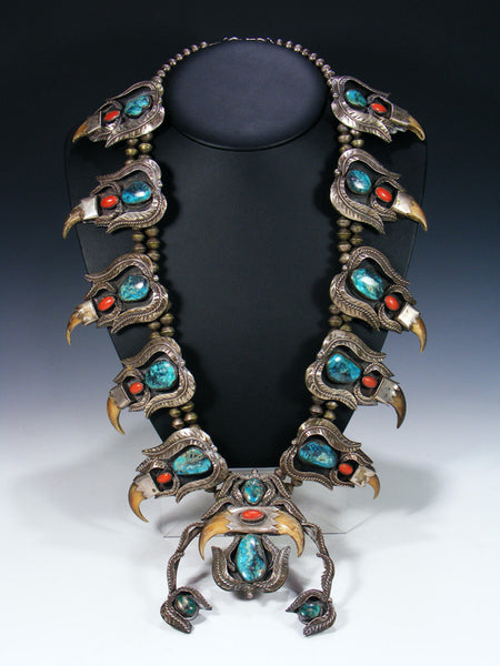 Old Pawn Massive Turquoise and Coral Squash Blossom Necklace