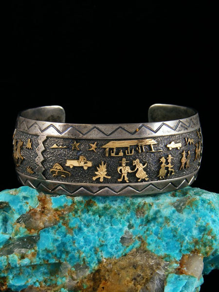 Old Indian Sterling Silver and Gold Overlay Bracelet