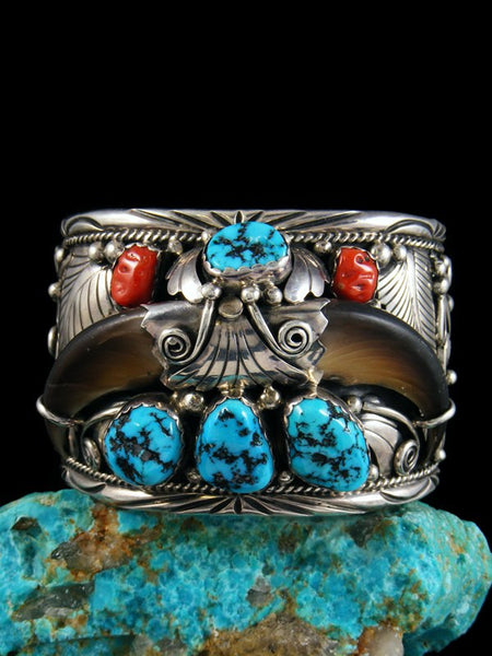 Native American Vintage Turquoise and Coral Bear Claw Bracelet