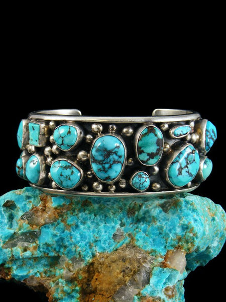 Old Pawn Indian Spiderweb Turquoise Bracelet