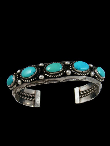Old Pawn Indian Silver Turquoise Bracelet