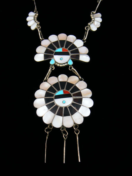 Old Pawn Sunface Zuni Inlay Necklace by Dora Massie - PuebloDirect.com - 1