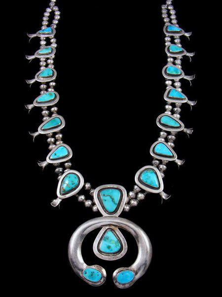 Old Pawn Turquoise Squash Blossom Necklace and Earring Set