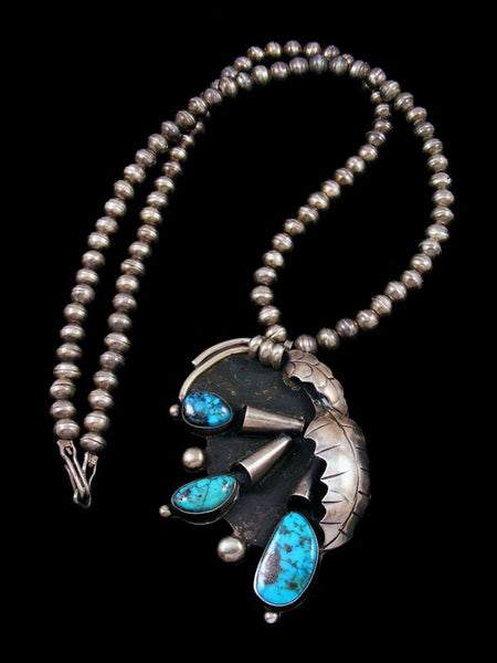 Old Pawn Native Jewelry Sterling Silver Turquoise Necklace