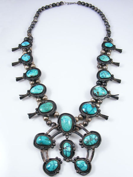 Old Pawn Turquoise Squash Blossom Necklace