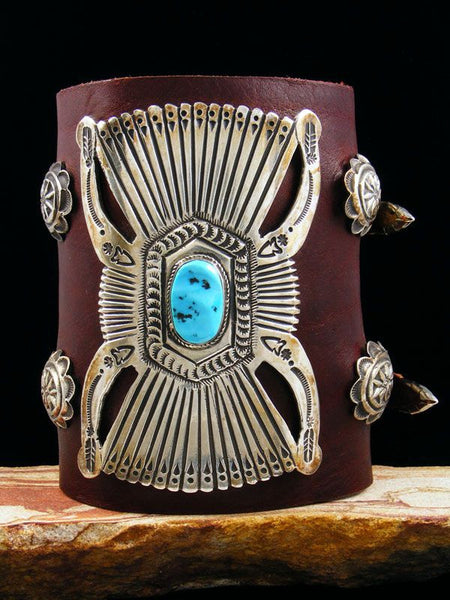 Old Pawn Indian Jewelry Turquoise Bow Guard Ketoh by Vintage Jewelry - PuebloDirect.com - 1