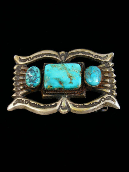 Old Pawn Native American Turquoise Belt Buckle by Eugene Mitchell - PuebloDirect.com