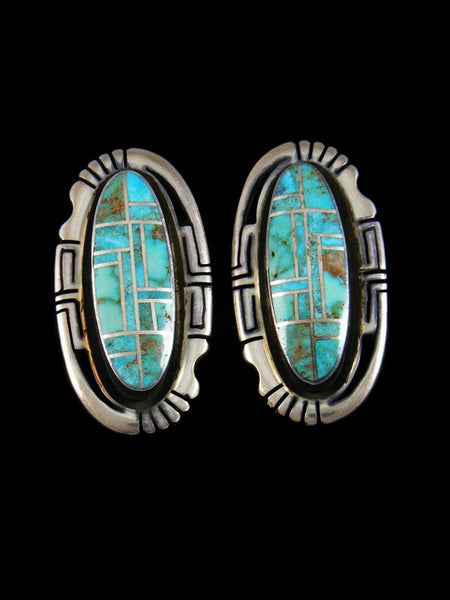 Estate Sterling Silver Turquoise Inlay Earrings