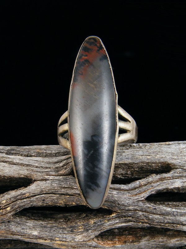 Old Pawn Native American Sterling Silver Petrified Wood Ring, Size 6.5