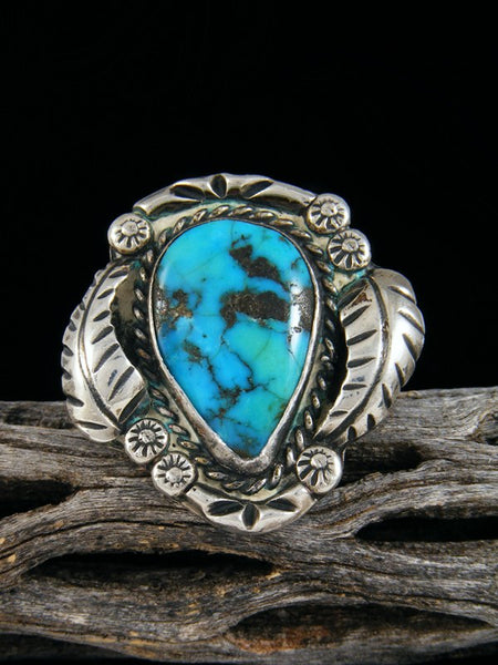 Old Pawn Native American Sterling Silver Turquoise Ring, Size 8.5