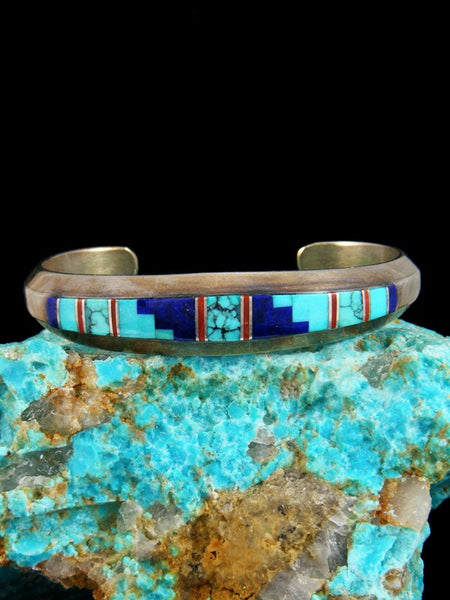 Estate Native American Sterling Silver Turquoise Lapis Inlay Bracelet