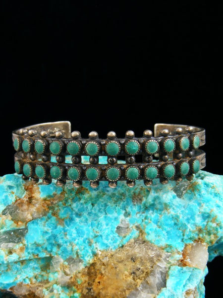 Old Pawn Indian Sterling Silver Zuni Turquoise Bracelet