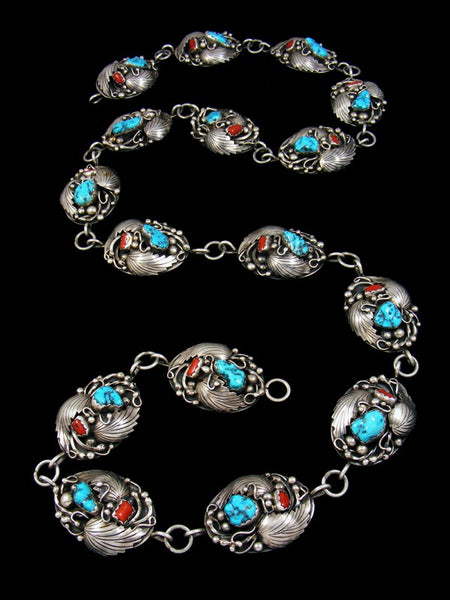Old Pawn Indian Jewelry Turquoise and Coral Concho Belt
