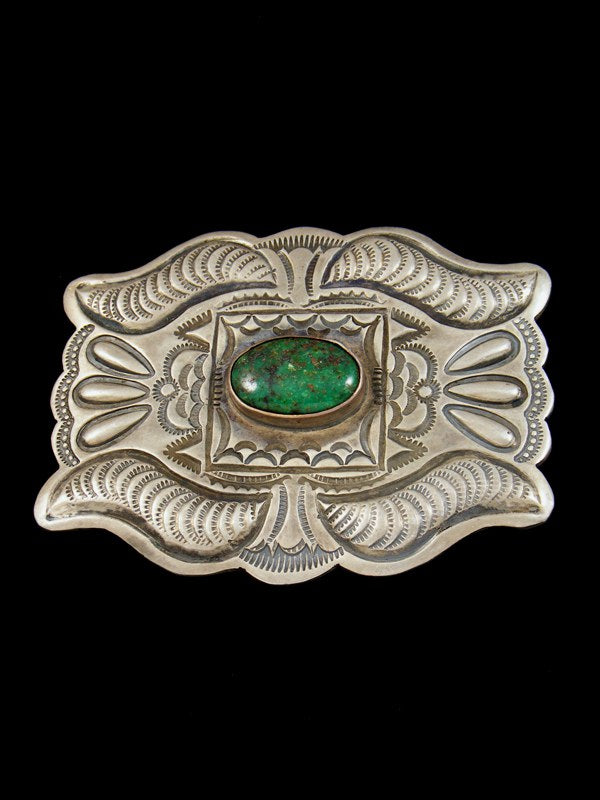 Estate Native American Jewelry Sterling Silver Turquoise Belt Buckle