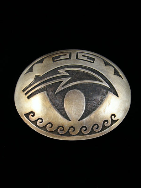 Old Pawn Hopi Jewelry Sterling Silver Belt Buckle